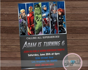 Avengers Party Invitation, The Avengers Birthday Invitation, Avengers Birthday Party Invitation, Super Hero Chalk Invitation, Digital File.