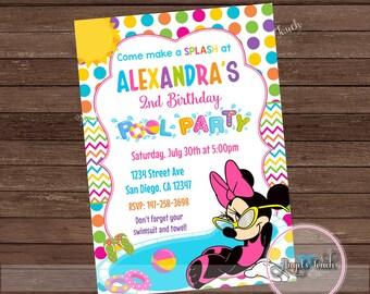 Minnie Mouse Pool Party Invitation, Minnie Mouse Birthday Party Invitation, Minnie Mouse Pool Party nvitation, Digital File