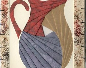 Handmade Thinking of You Greeting Card - Iris folded Pitcher v.9