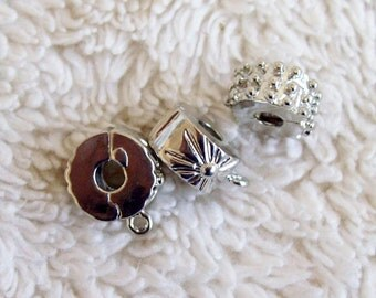 3 Silver-toned Chain Bracelet Stoppers