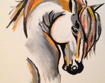 Original Acrylic Horse Painting, Equine Modern Art