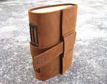 Handmade unique leather journal personalized leather notebook leather diary with leather strap closure
