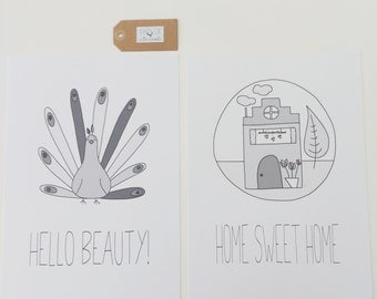 hand illustrated posters