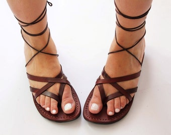 Desert Jesus sandals , the gladiator model with straps in  brown color ,women leather sandals .