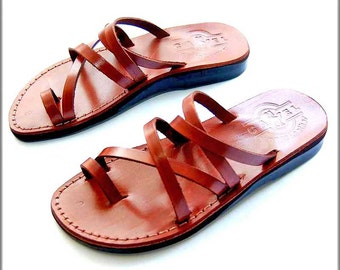 Strappy cross Jesus sandals slip on from holyland of Jerusalem , leather sandals for women from a genuine leather