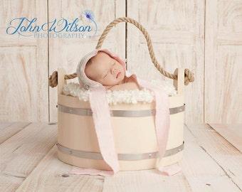 wooden bucket photo prop cream