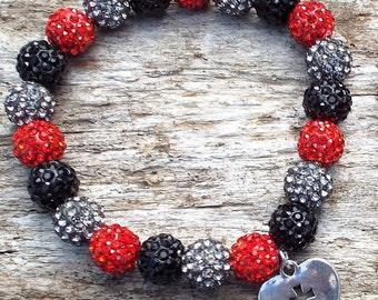 Red, Black, Gray Rustic Cuff Inspired bracelet