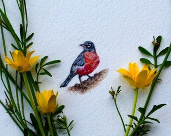 Original miniature watercolor painting of a Robin.