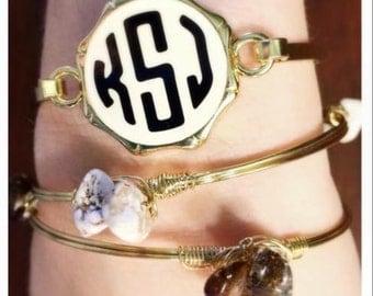 Monogrammed Bangle Bracelet, Bridesmaid gift