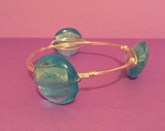 Blue Water Bead Wire Wrapped Bracelet