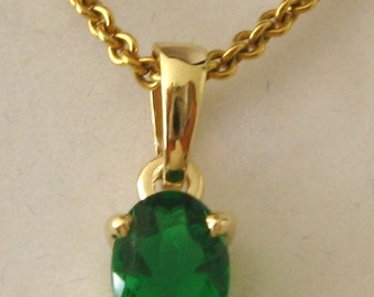 Genuine SOLID 9K 9ct YELLOW GOLD May Birthstone Emerald Pendant