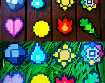 Pokémon Badges Perler Bead Sprites