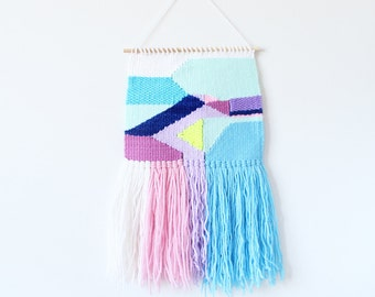 Handwoven Wall Hanging | Small Geometric Neon Weaving | woven tapestry