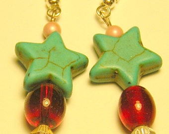 Beaded earrings with turquoise stars
