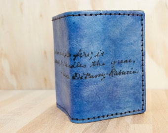 Custom Mens Wallet - Personalized Trifold Leather Wallet in the Smokey Pattern with inscription - Blue - Third Anniversary Gift