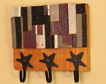 reclaimed wood key hanger mosaic