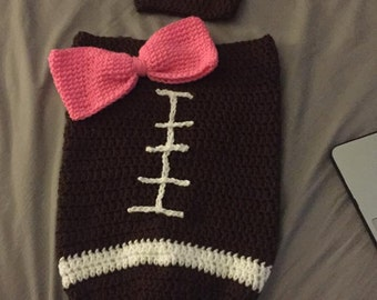 Crochet Football Cocoon (with or without bow)