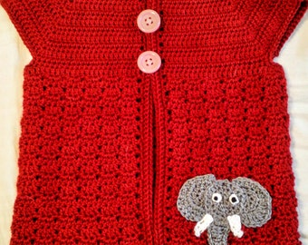 Red short sleeve sweater with elephant