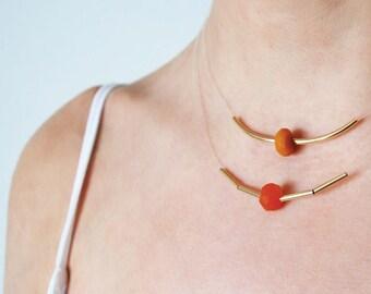 Sale 40% 0Collier gold filled 14 k, caramel Tan beads grapefruit, multi-row, Choker, basic n3 necklace Pearl ochre