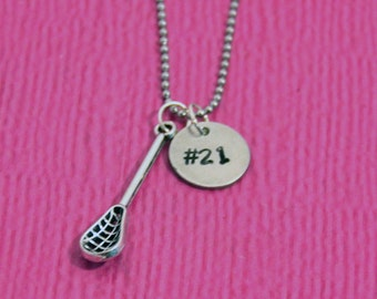 Lacrosse Necklace | Lacrosse Gifts | Gift for Lacrosse Player | Lacrosse Gift for Girl | Lacrosse Charm | Lacrosse Jewelry | Personalized