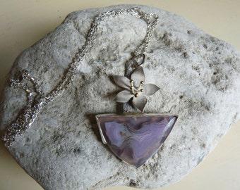 Laguna agate cherry blossom silver pendant