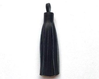 Luxurious Navy Leather Tassel