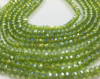 1Full Strand Olive Green Crystal Rondelle Beads 4mm Faceted Crystal Glass Beads For Jewelry Making