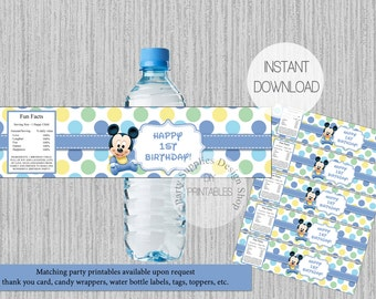 Polka Dots Baby Mickey Mouse 1st Birthday Water Bottle Labels, INSTANT DOWNLOAD, Baby Mickey Water Bottle Wrappers, DIY Printables