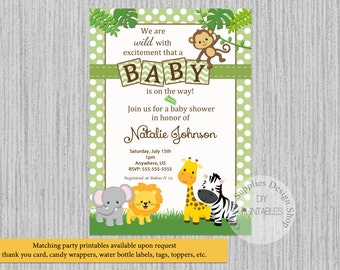 PRINTED or Digital Baby Jungle Baby Shower Invitations, Safari Baby Animals Party Supplies, Safari Party Printables, Animals Invitations