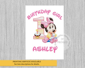 Baby Minnie Mouse 1st Birthday Iron On, Pink Minnie Birthday Tshirt Printable, Minnie Personalized Iron On, DIY Printables, Minnie Party