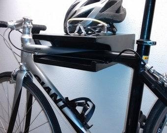 Modern Wood Bike Rack Display. Wall Mount Bike Rack. Bike Shelf. Bike storage