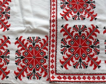 Hungarian Hand Embroidered Tablecloth, Traditional Folk Embroidery, Hungarian Design, Hungarian Beregi Pattern