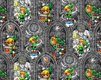 """Nintendo Fabric - Nintendo Legend of Zelda Sword Powers 100% cotton fabric 44"""" wide ***K148"""