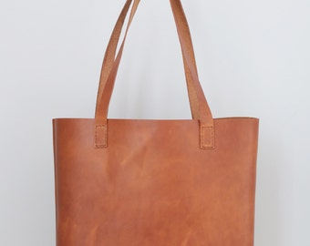 The Pike Leather Tote in Chestnut