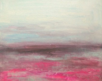 original landscape 12 x 12 painting on canvas white magenta