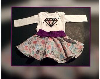 Diamond and gem colorful and glittery onesie and circle skirt gift set.  Free shipping.  Newborn/infant.  Handmade.