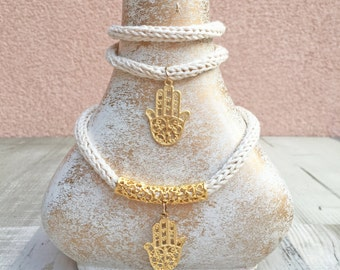 Set of the handmade necklace and bracelet, Hanmade accessories, Handmade cord, Braided cord,Bracelet and necklace