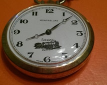 TRAIN!!! Gold Open-Face Montreluxe Pocket Watch Swiss-Made Steam Engine with Chain