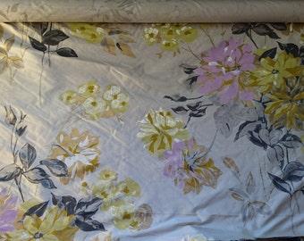 Floral printed silk dupion