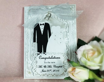 Personalized Wedding Congratulations Card - Suit and Dress with hearts charm