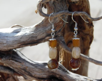 Glass Beads *Earth Tones* Earrings-  Drop Earrings. Up cycled Fashion. Brown Tones Dangle