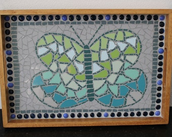Wood tray with mosaics Butterfly