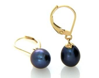 Pearl Leverback Earring, Black Pearl Drop Earring, Hallmarked 9ct 9k Yellow Gold Leverback Pearl Earrings, Wedding Jewellery, Bridal Gift