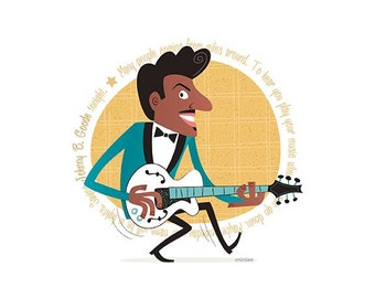 Chuck Berry, 50s Rock & Roll, Instant Digital download, Printable Illustration, pioneer of rock and roll, Rockabilly, Retro illustration