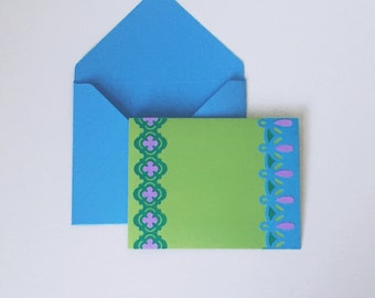 Stationery set, blank note cards , Stationary cards, purple and green notecards, A2 envelopes, blank thank you cards, blank greeting cards