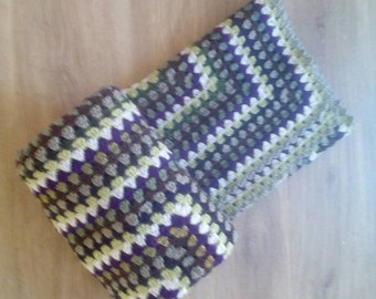 Handmade Crochet Blanket. Granny Throw. Purple, Green, Brown, Cream