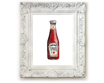 Ketchup Illustration Print, Giclee Print, Wall Art, Watercolor Print, Illustration. Heinz Ketchup Bottle.