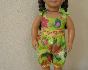 "Spring Green Floral Summer Jumpsuit for American Girls and other 18"" Dolls"