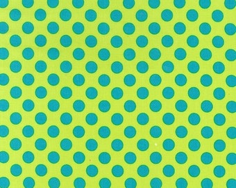 By The HALF YARD - Ta Dot by Michael Miller, Pattern #CX-1492, Caribbean, Lime Green Fabric with blue Dots