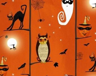 By The HALF YARD - Cheeky Wee Pumpkins By DT-K Signature from Studio e Fabrics, #3272-33 Halloween Trees Scene Main on Orange, Owls, Bats